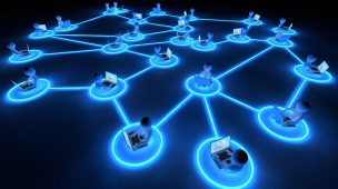 Ilustração de advocacia em rede com pessoas em computadores conectadas por fios luminosos ao redor do mundo.
