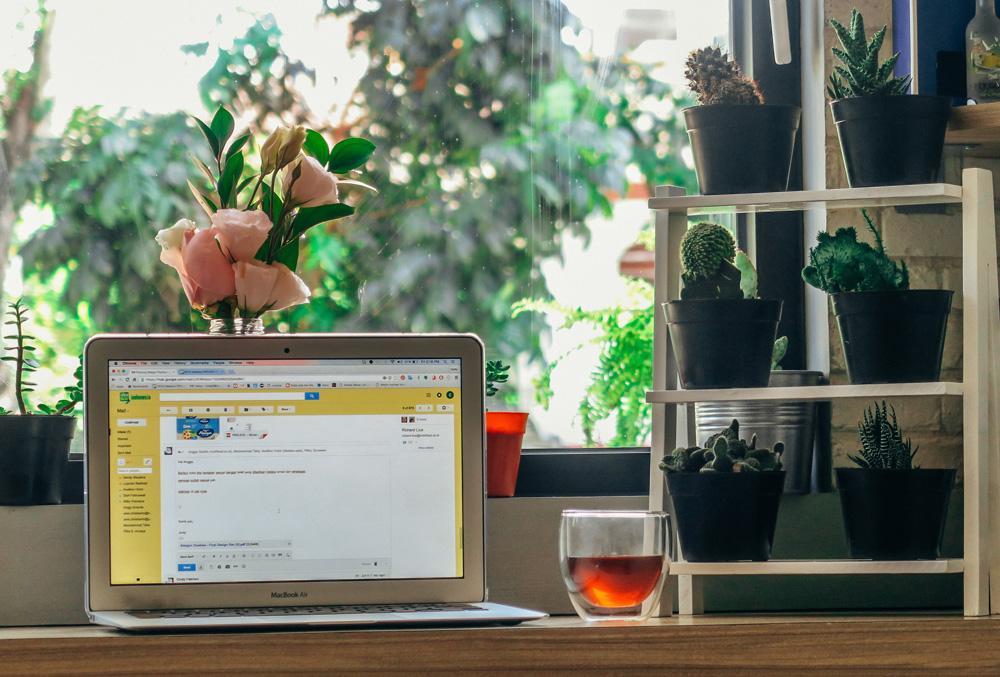"""Computador sobre escrivaninha com xícara transparente de chá ao lado e mini estante de plantas sobre a mesa. Ao fundo, janela aberta com árvores desfocadas. A imagem ilustra o texto """"home office e sustentabilidade"""""""