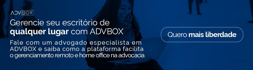 Banner para conversar gratuitamente com consultor da ADVBOX sobre uso da ferramenta e possibilidades de gerenciar escritório à distância