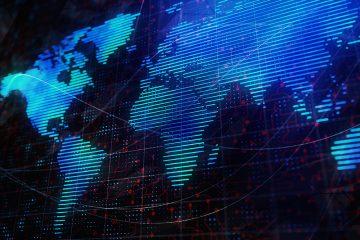 Mapa mundi digital em uma tela de luzes azuis, representando a captação de clientes na advocacia por meios digitais em qualquer lugar do mundo.