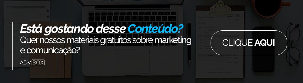 Banner para clicar e acessar nossa página de materiais gratuitos sobre marketing e comunicação