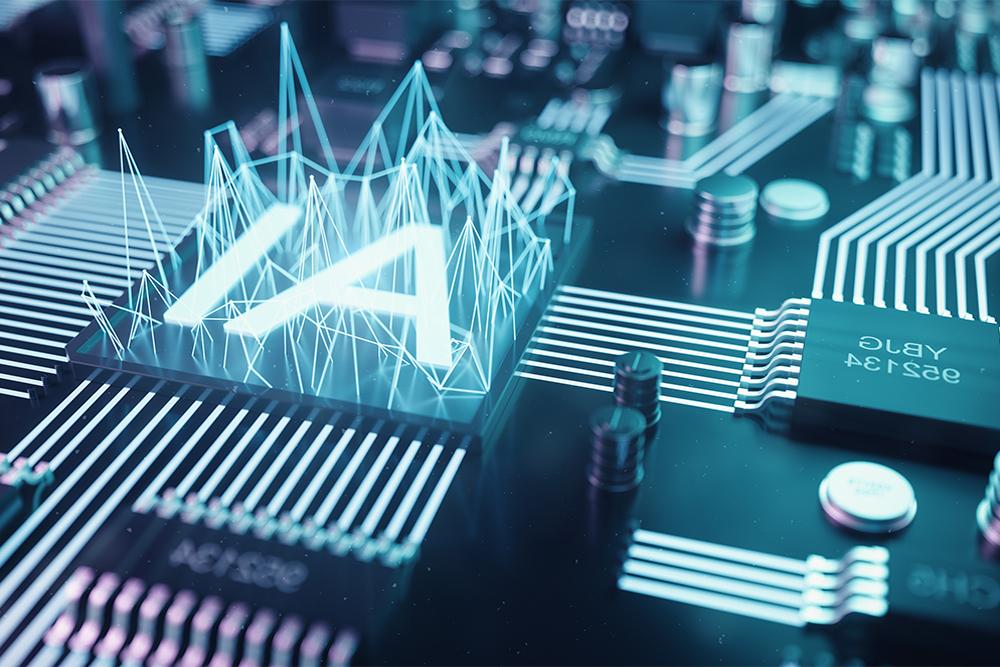 Uma placa de computador com uma projeção holográfica em azul que mostra as letras I A